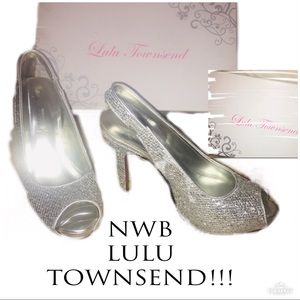 ‼️🔥NWB LULU TOWNSEND Sequined Open Toe Heels!🔥‼️